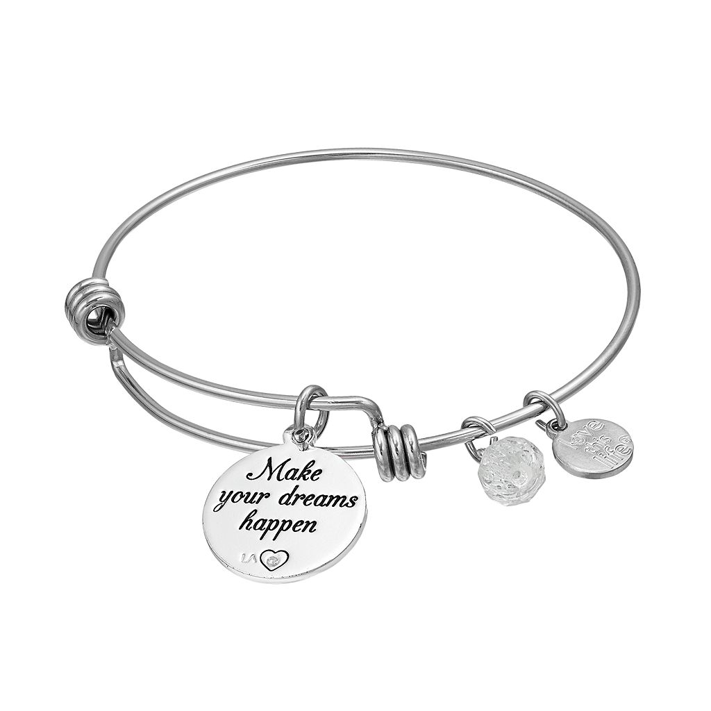love this life Crystal Butterfly Charm Bangle Bracelet