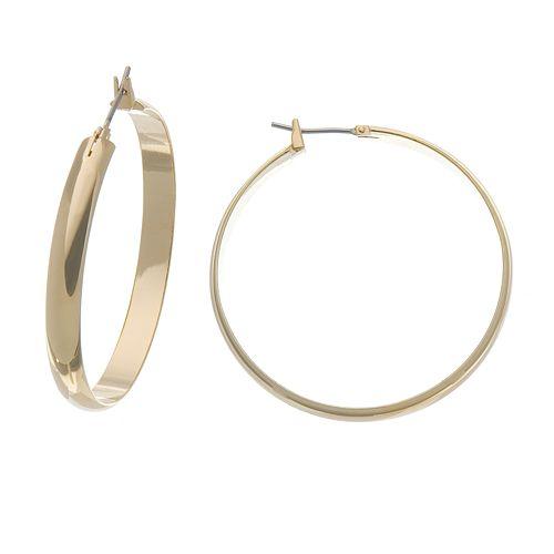 Napier® Gold Tone Domed Hoop Earrings - 1 5/8-in.
