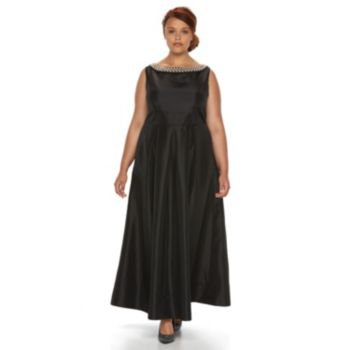 Plus Size Chaya Embellished Sateen Evening Gown