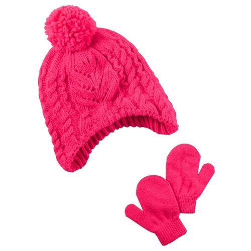 a8e90546faa Baby Girl Carter s Pink Cable Knit Hat   Mittens Set