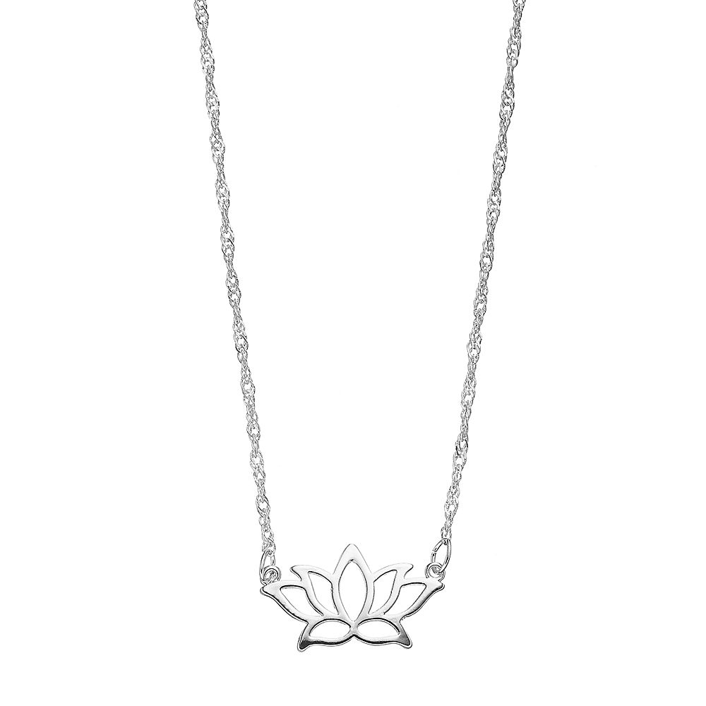 Lc lauren conrad silver tone lotus flower necklace izmirmasajfo