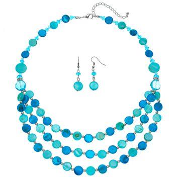 Aqua Composite Shell Disc Swag Necklace & Drop Earring Set