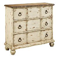 Dorcester White Distressed Ring Pull 3-Drawer Dresser