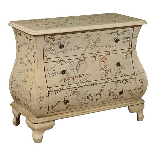 Fairford Tan Hand-Painted Script 3-Drawer Bombay Dresser