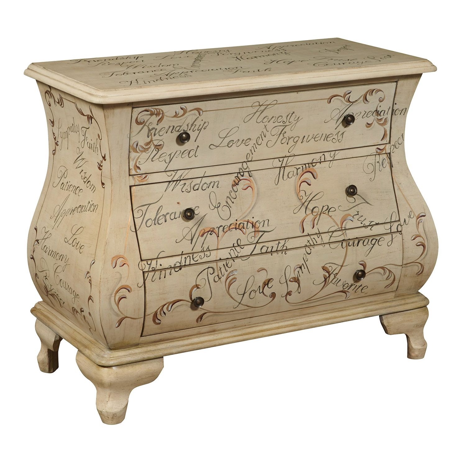 Fairford Tan Hand Painted Script 3 Drawer Bombay Dresser