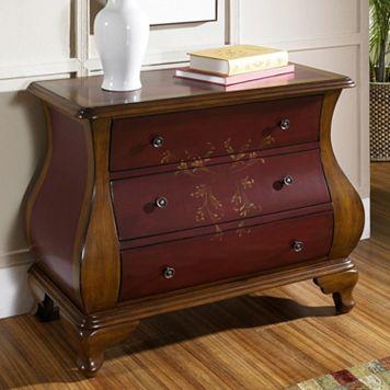 Kendal Red Hand-Painted Floral 3-Drawer Dresser