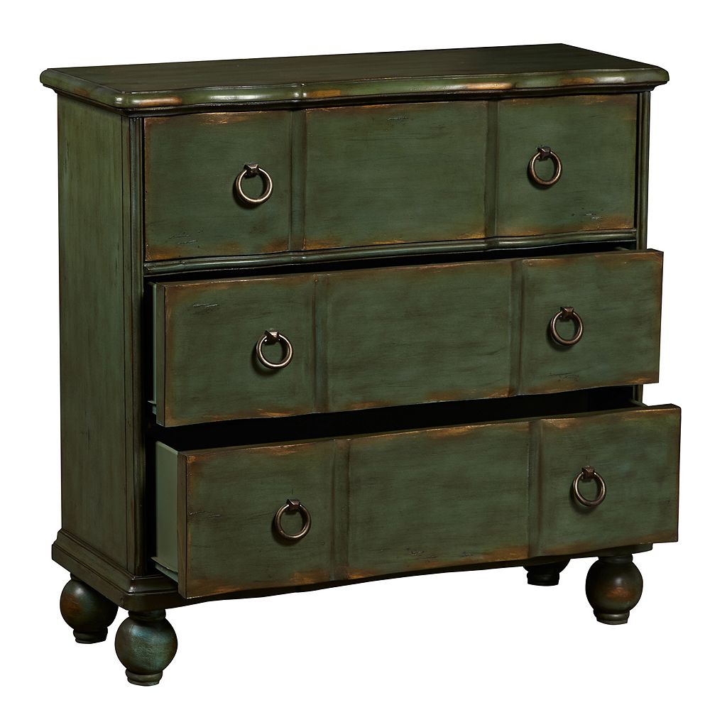 Ashford Dark Green Ring Pull 3-Drawer Hall Dresser