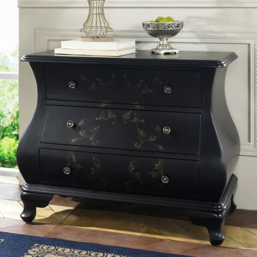 Newbury Black Hand-Painted 3-Drawer Bombay Dresser