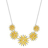 Graduated Yellow Flower Statement Necklace
