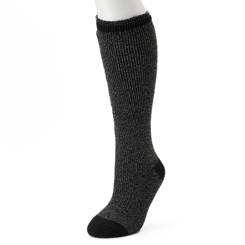 Women's Heat Holders Thermal Twist Knee-High Socks, Size: 5-9, Black Keep your feet and calves warm with these women's Heat Holders thermal crew socks. Knee-high styling Elastic foot and ankle Thermal heat TOG rating: 2.34 Non-binding Help with circulation Fabric & Care Acrylic, nylon, polyester, elastic Machine wash Imported Size: 5-9. Color: Black. Gender: Female. Age Group: Adult. Material: Cotton Blend.