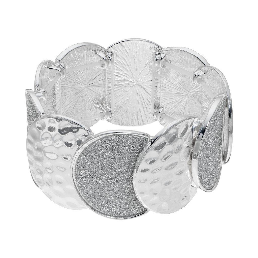 Hammered & Glittery Disc Stretch Bracelet