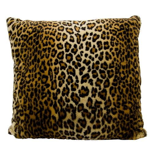 Mina Victory Faux Fur Leopard Print Throw Pillow
