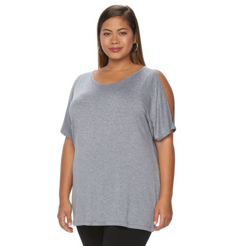 Plus Size Design 365 Studded Cold-Shoulder Top