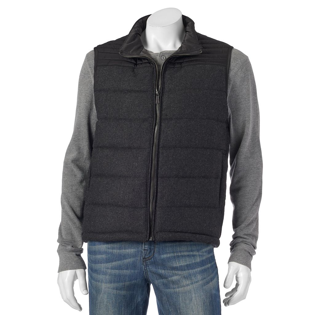 Men's Apt. 9® Modern-Fit Mixed Media Wool-Blend Puffer Vest