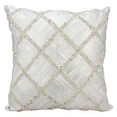 Kathy Ireland Beaded Geometric Throw Pillow