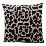 Kathy Ireland Gray Flowers Throw Pillow