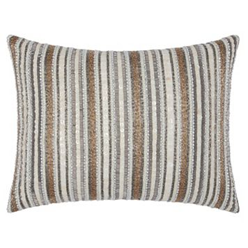 Mina Victory Luminescence Beaded Stripes Throw Pillow