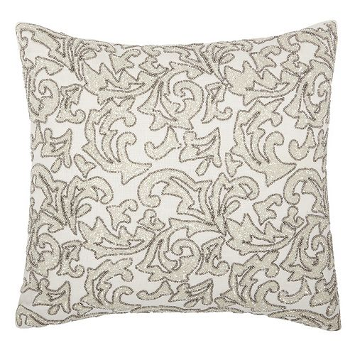 Mina Victory Luminescence Beaded Leaves Throw Pillow
