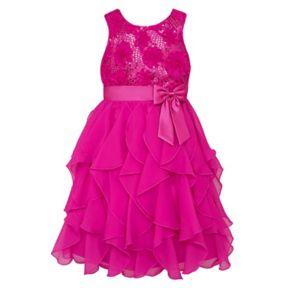 Girls 7-16 & Plus Size American Princess Floral Sequin Soutache Ruffle Dress