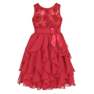Girls 7-16 & Plus Size American Princess Floral Sequin Soutache Ruffle Dress