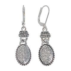 Napier® Silver-Tone Oval Drop Earrings