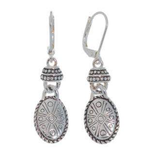 Napier Silver-Tone Oval Drop Earrings