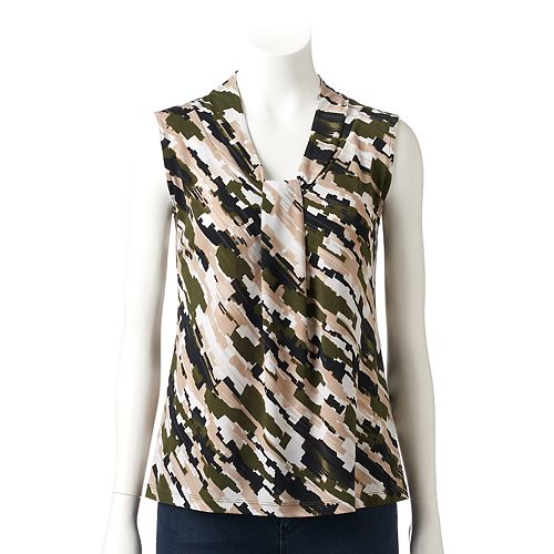 Petite Dana Buchman Knotted V-Neck Top