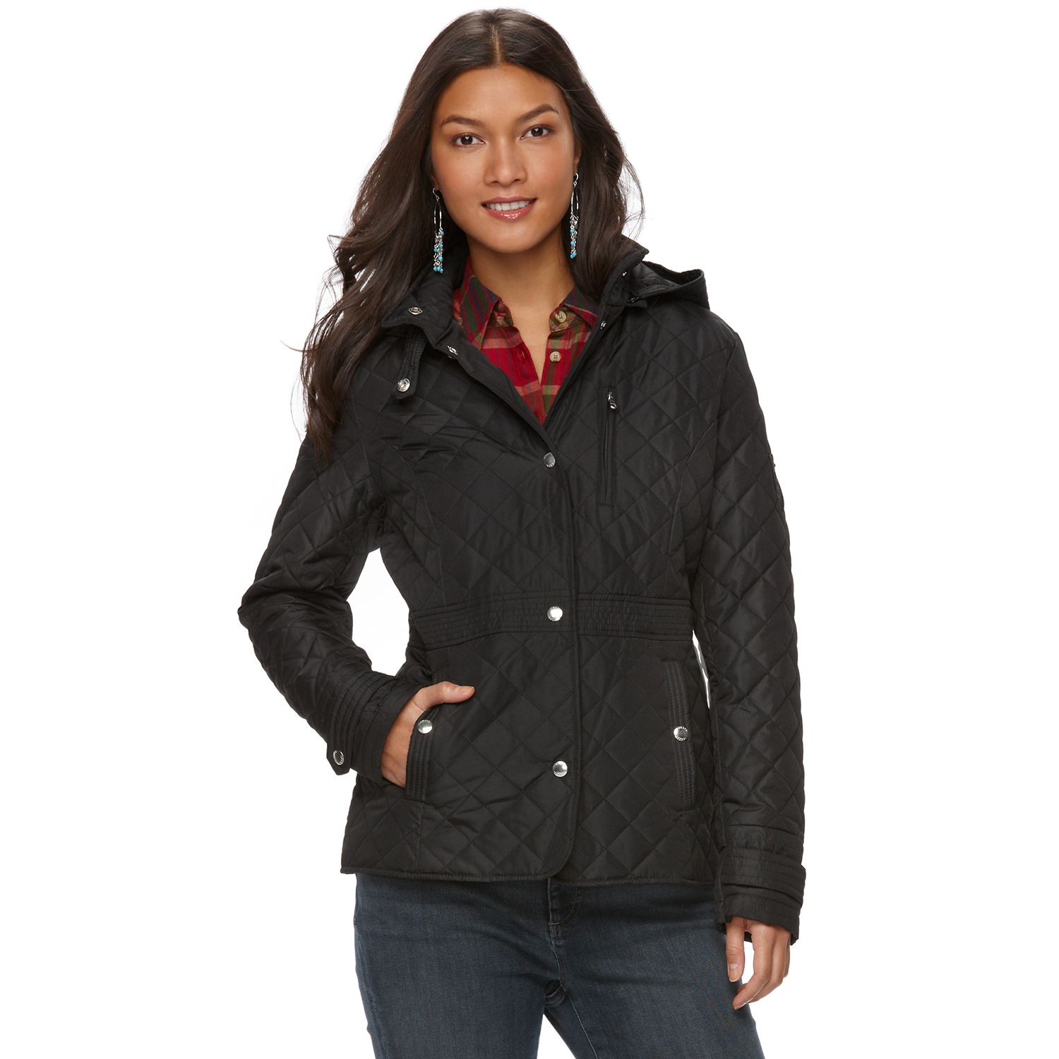 Womens Chaps Hooded Quilted Jacket