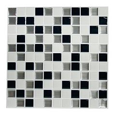 RoomMates Black & White Mosaic StickTILES Wall Decal 4 pc Set