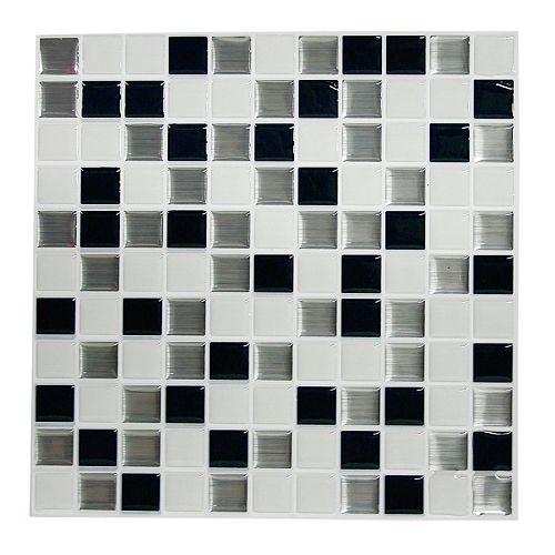 RoomMates Black & White Mosaic StickTILES Wall Decal 4-piece Set