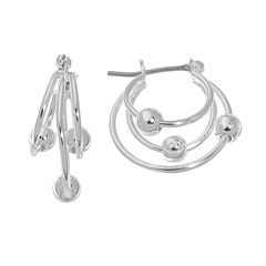 Napier® Silver-Tone Beaded Triple Hoop Earrings