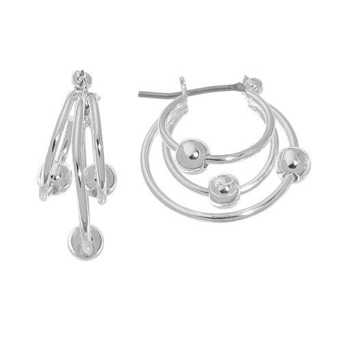 Napier® Silver-Tone Beaded Triple Hoop Earrings