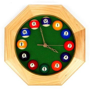 Octagon Billiards Wood Wall Clock