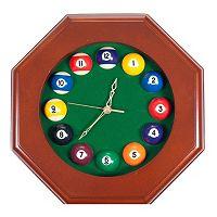 Octagon Billiards Dark Wood Wall Clock
