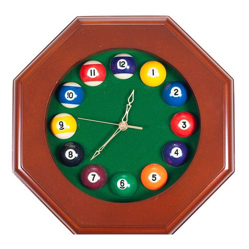 Octagon Billiards Dark Wood Wall Clock