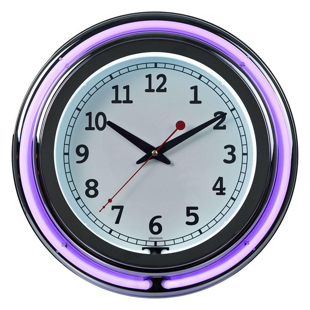 Double Ring Neon Purple Wall Clock