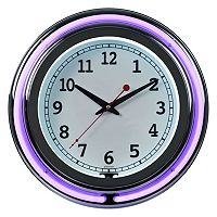 Double Ring Neon Purple Wall Clock