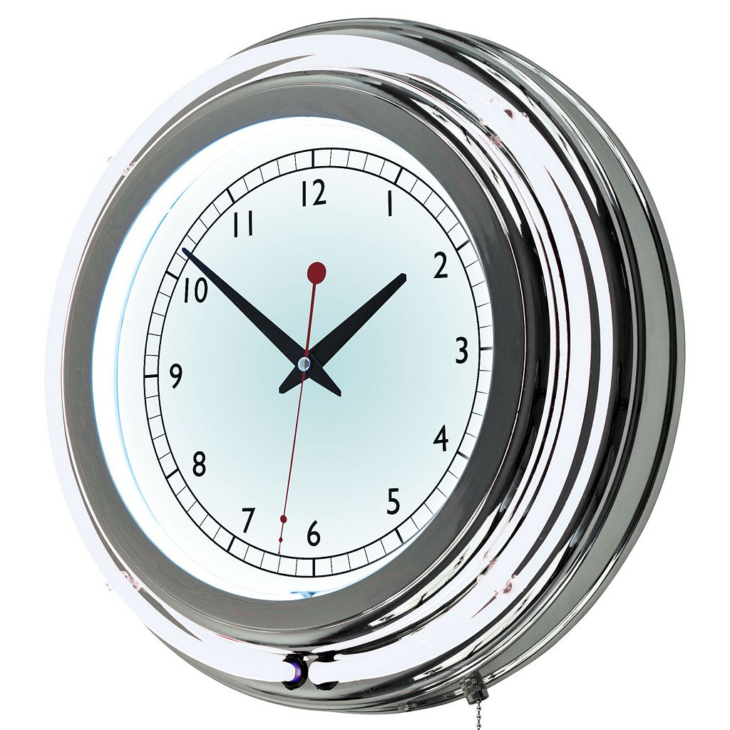 Double Ring Neon White Wall Clock