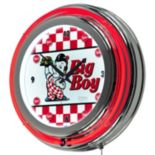 """Bob's Big Boy"" Checkered Chrome Finish Neon Wall Clock"