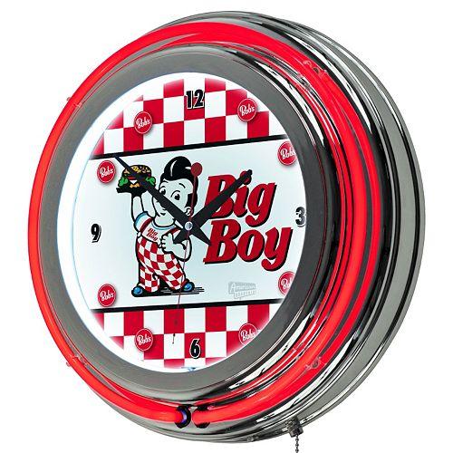 """Bob's Big Boy"" Checkered Chrome Finish Neon Wall Clock"