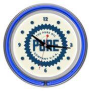 """Pure Oil"" Chrome Finish Neon Wall Clock"