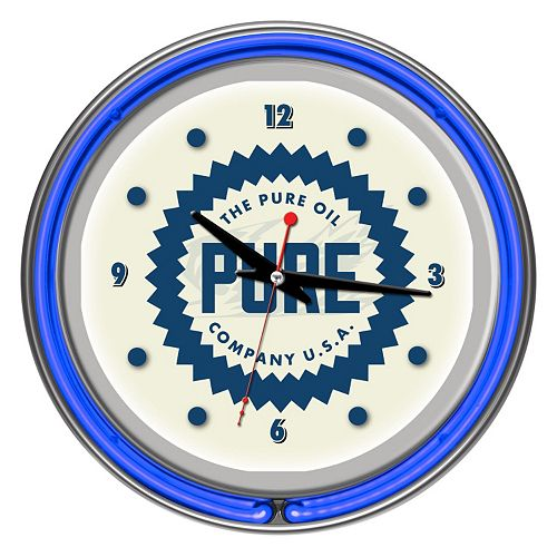 """Pure Oil"" Chrome Finish Neon Wall Clock"