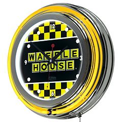 'Waffle House' Checkered Chrome Finish Neon Wall Clock