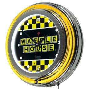 """Waffle House"" Checkered Chrome Finish Neon Wall Clock"