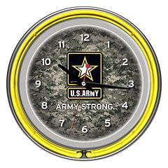 'U.S. Army' Digital Camo Chrome Finish Neon Wall Clock