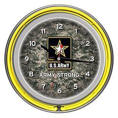'U.S. Army' Digital Camo Chrome Finish Neon Wall Clock