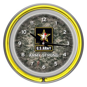 """U.S. Army"" Digital Camo Chrome Finish Neon Wall Clock"