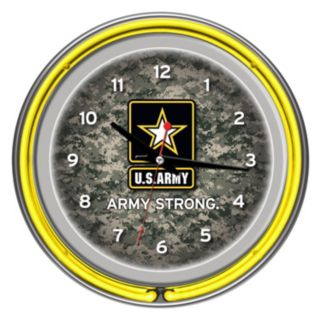 """U.S. Army"" Digital Camo Chrome Finish Neon Wall Clock"