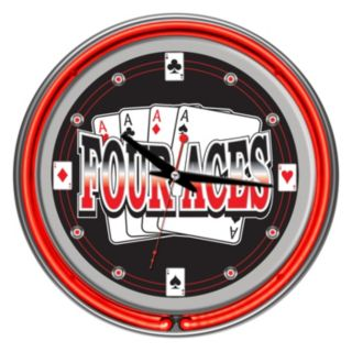 """""""Four Aces"""" Neon Wall Clock"""