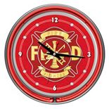 """Four Aces """"Fire Fighter"""" Neon Wall Clock"""